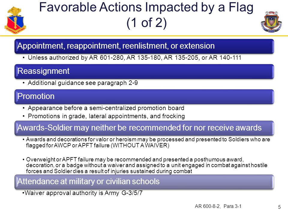 Favorable Actions Impacted by a Flag (1 of 2)