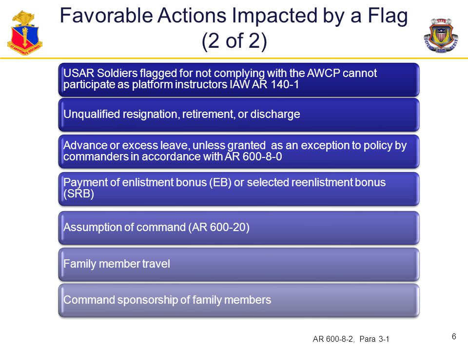 Favorable Actions Impacted by a Flag (2 of 2)