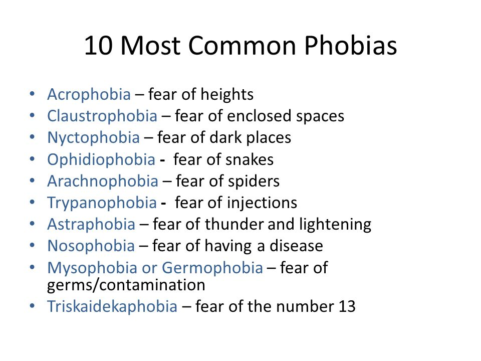 10 Most Common Phobias Acrophobia – fear of heights