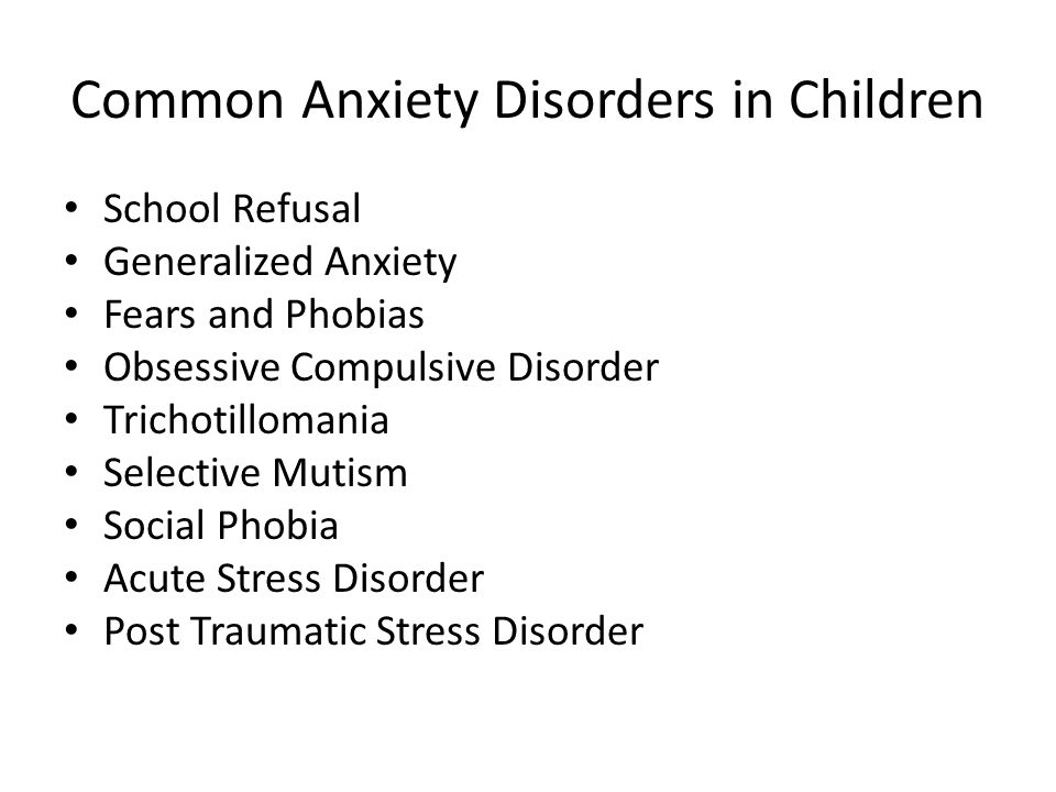 Common Anxiety Disorders in Children