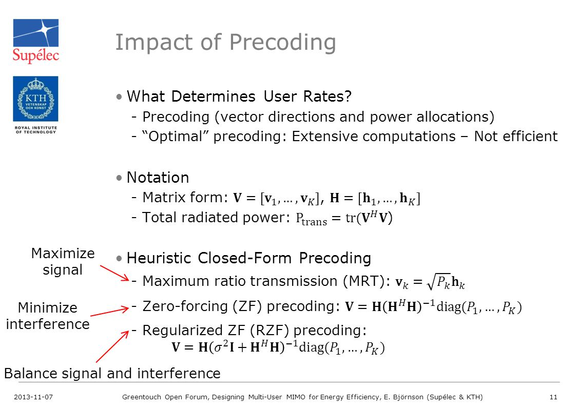 Impact of Precoding What Determines User Rates Notation