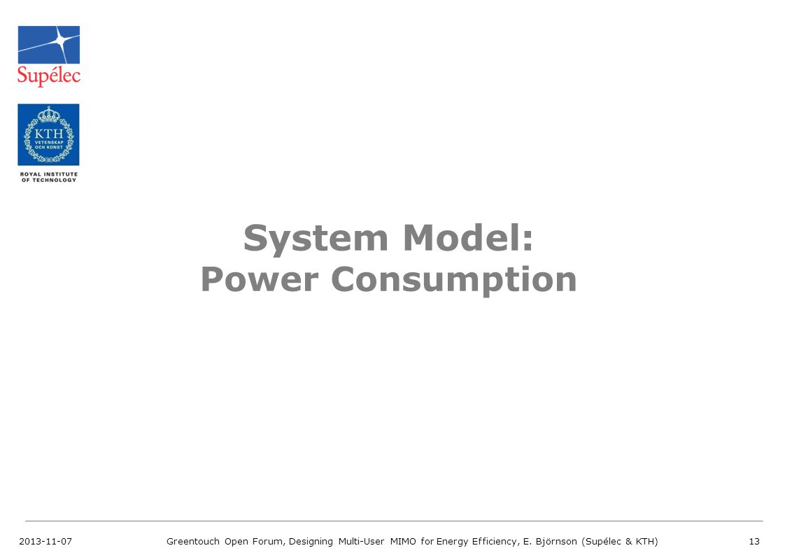 System Model: Power Consumption