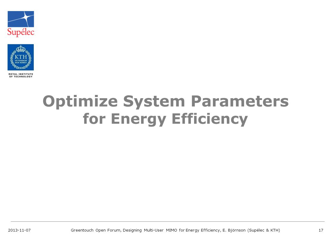 Optimize System Parameters for Energy Efficiency