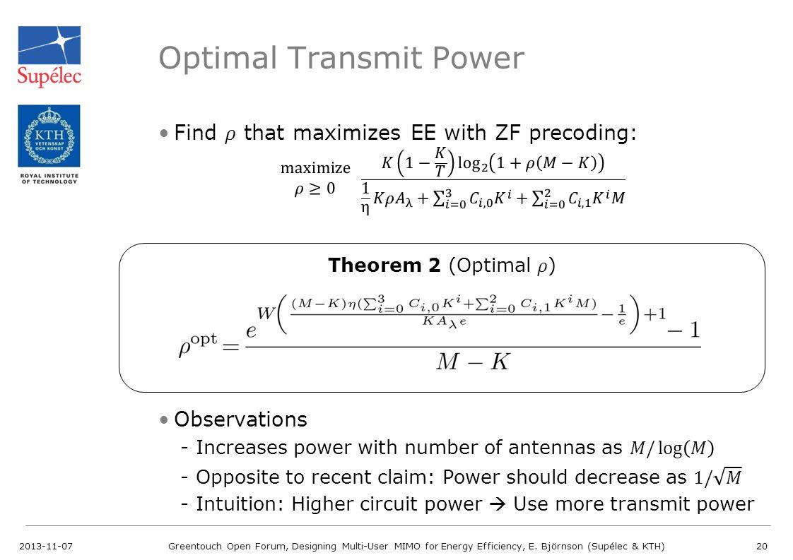 Optimal Transmit Power