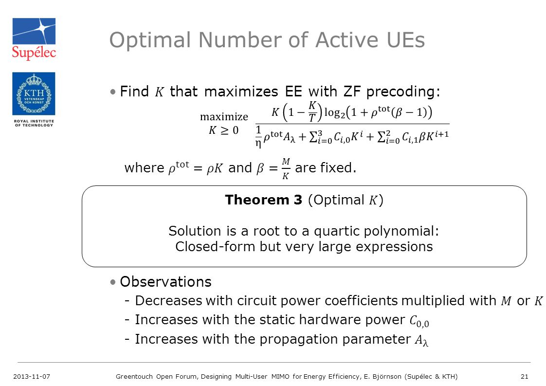 Optimal Number of Active UEs