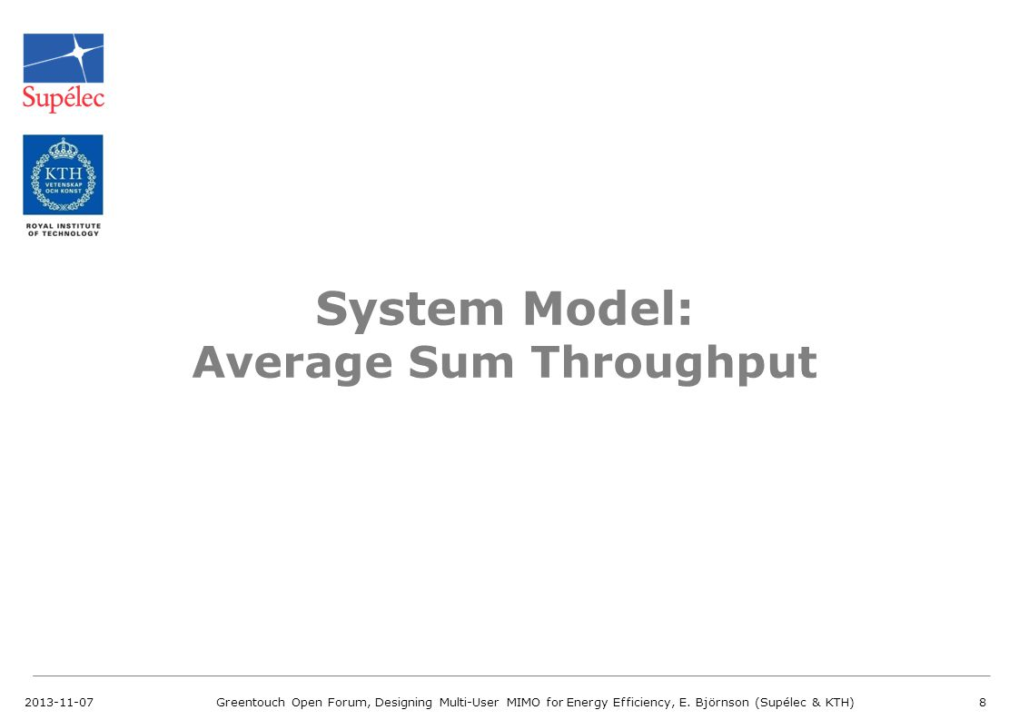 System Model: Average Sum Throughput
