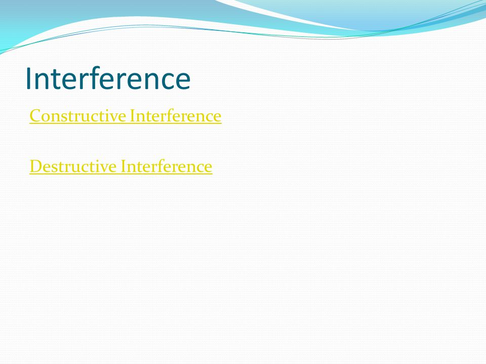 Interference Constructive Interference Destructive Interference