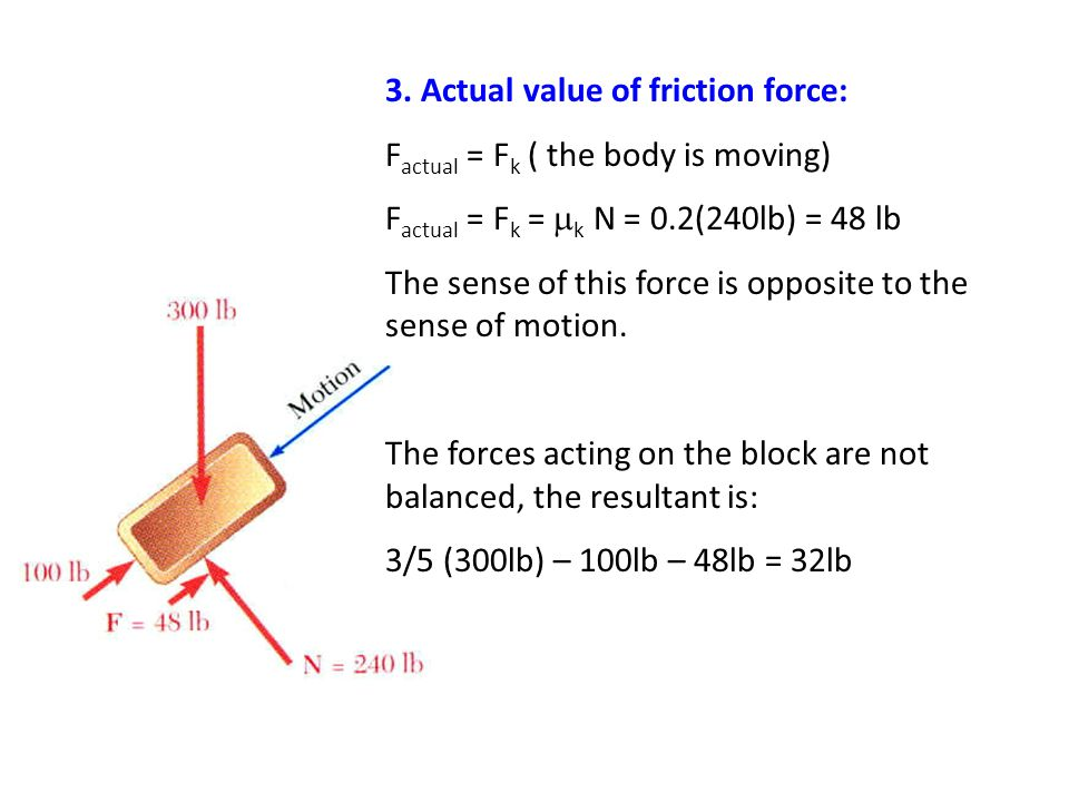 3. Actual value of friction force: