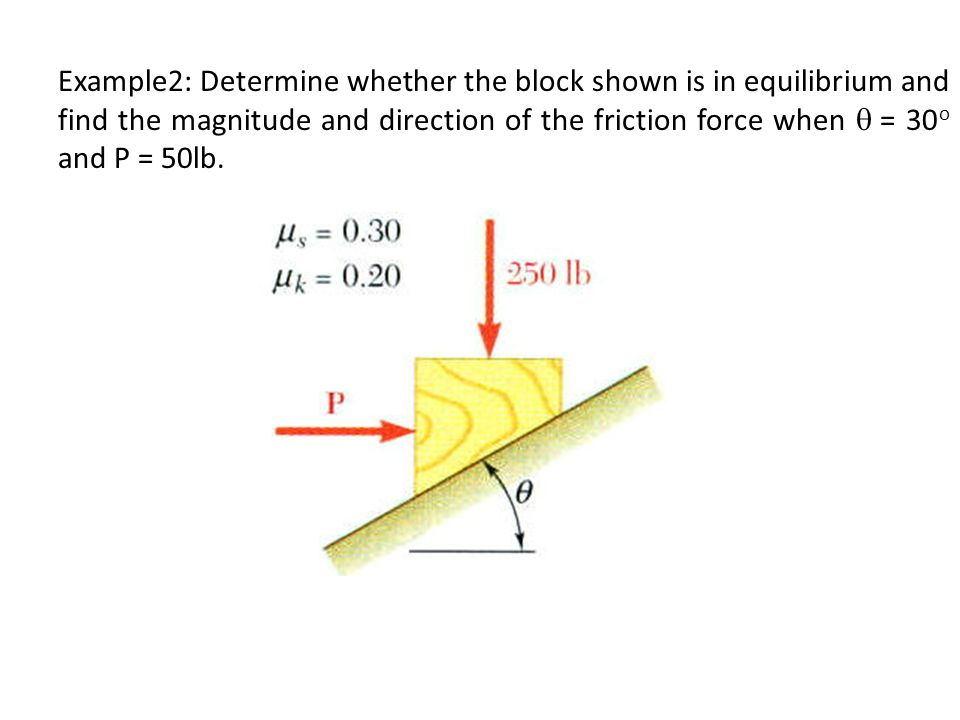 Example2: Determine whether the block shown is in equilibrium and find the magnitude and direction of the friction force when q = 30o and P = 50lb.