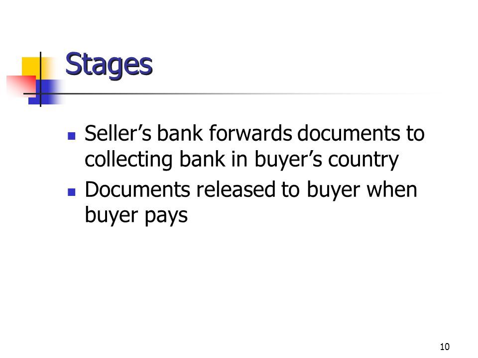 Stages Seller's bank forwards documents to collecting bank in buyer's country.
