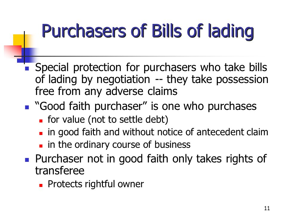 Purchasers of Bills of lading