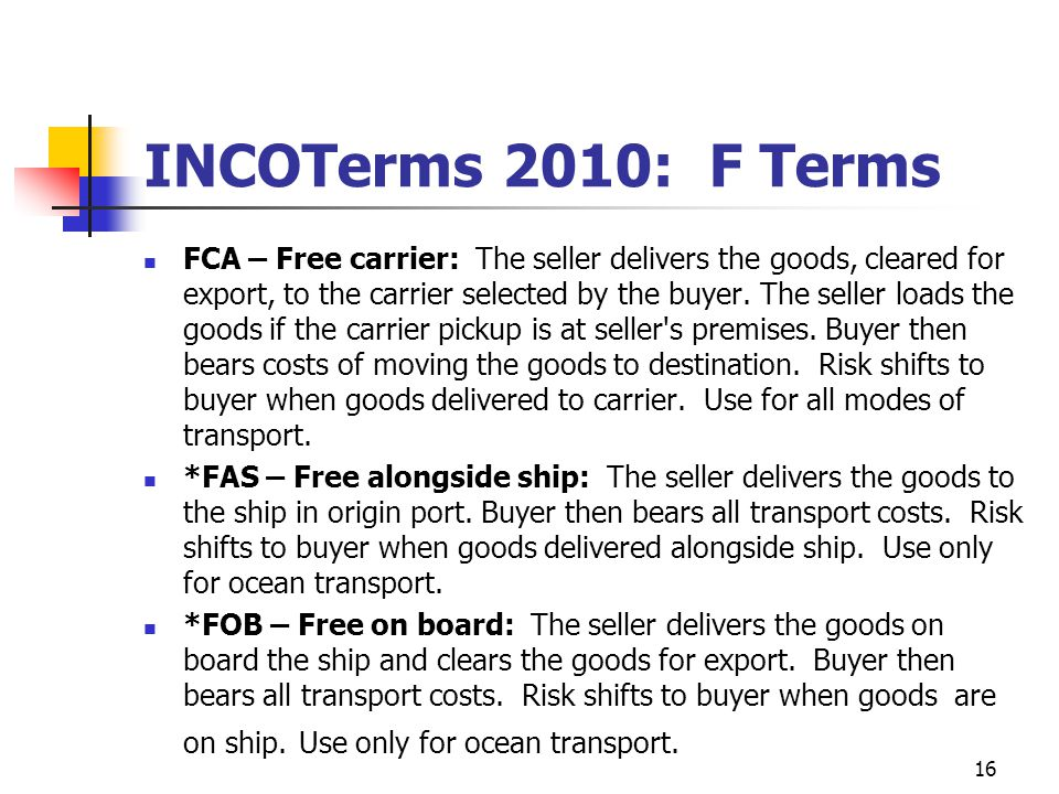 INCOTerms 2010: F Terms