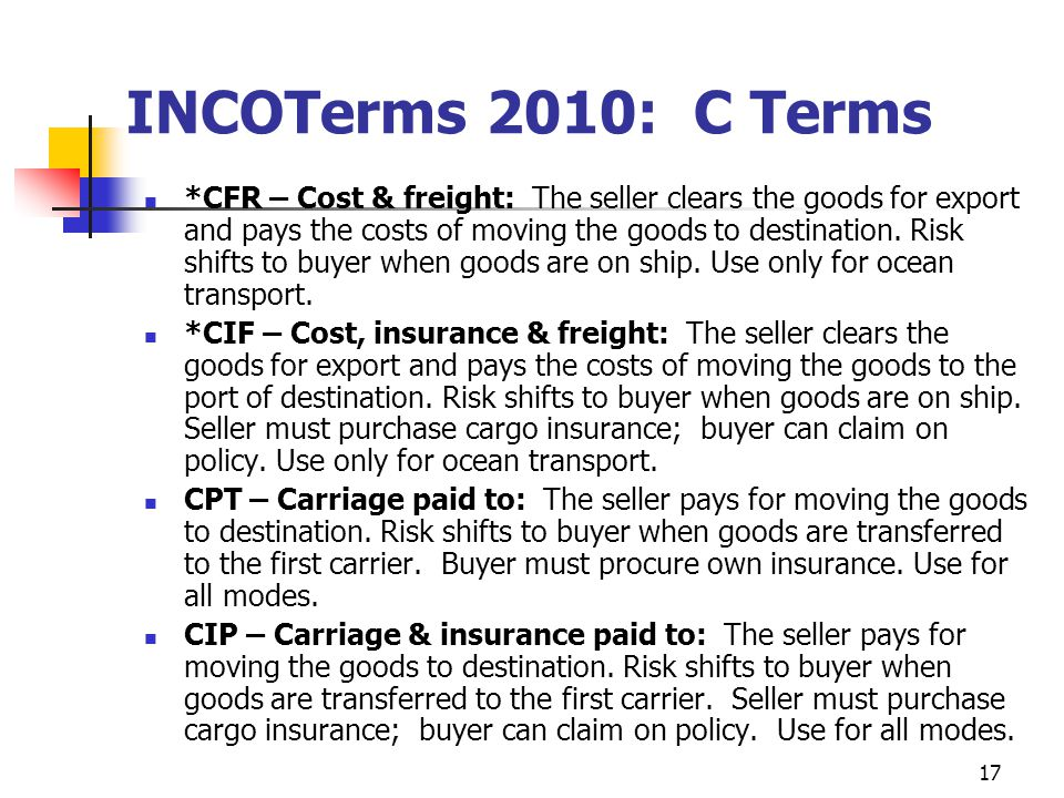 INCOTerms 2010: C Terms