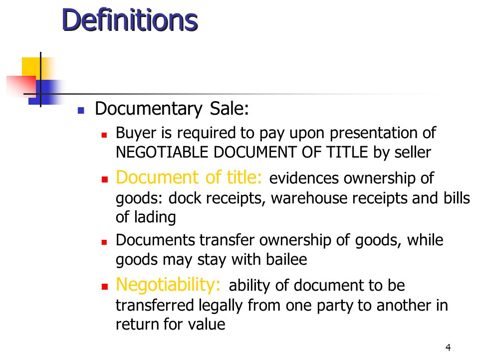 Definitions Documentary Sale: