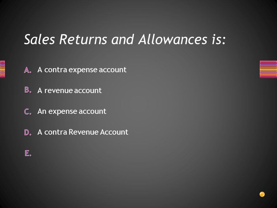 Sales Returns and Allowances is:
