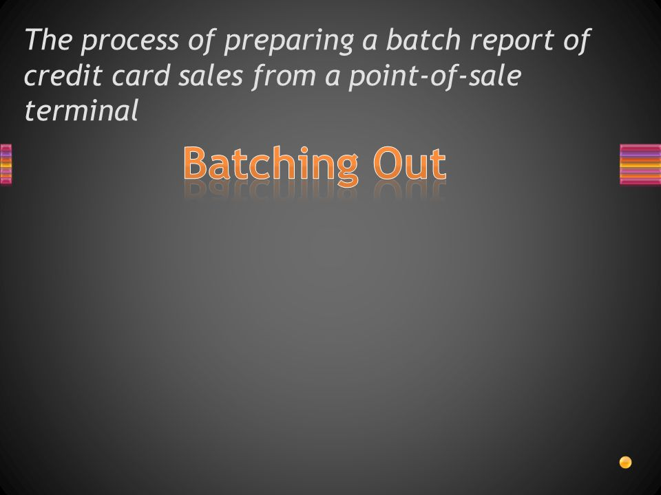 The process of preparing a batch report of credit card sales from a point-of-sale terminal