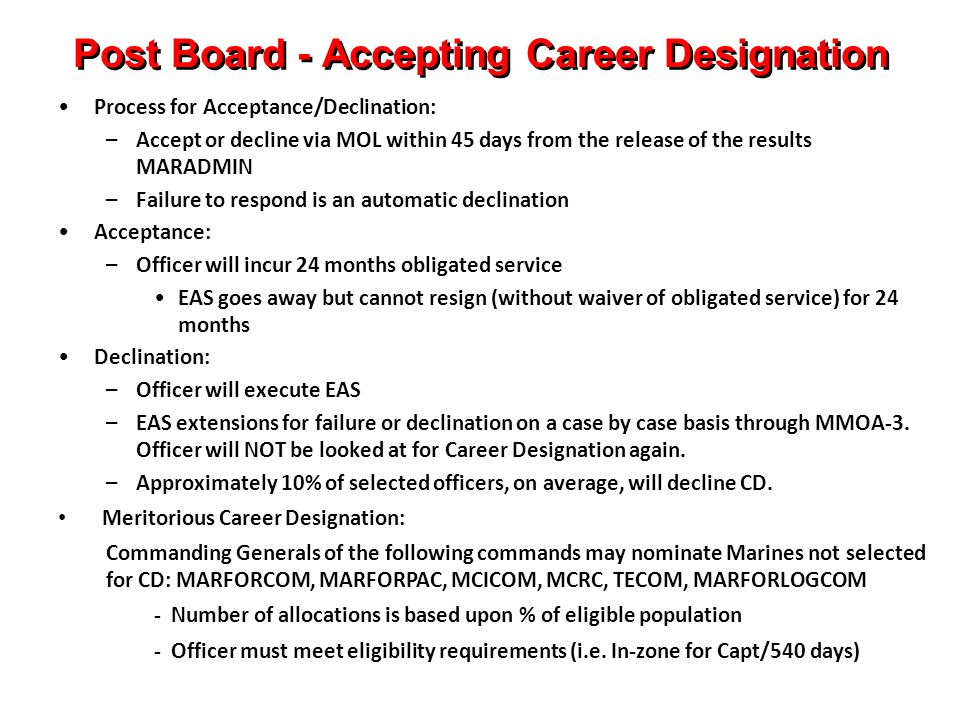 Post Board - Accepting Career Designation