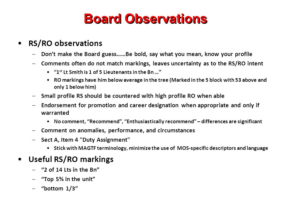 Board Observations RS/RO observations Useful RS/RO markings