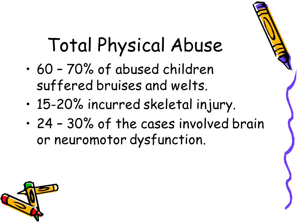 Total Physical Abuse 60 – 70% of abused children suffered bruises and welts. 15-20% incurred skeletal injury.