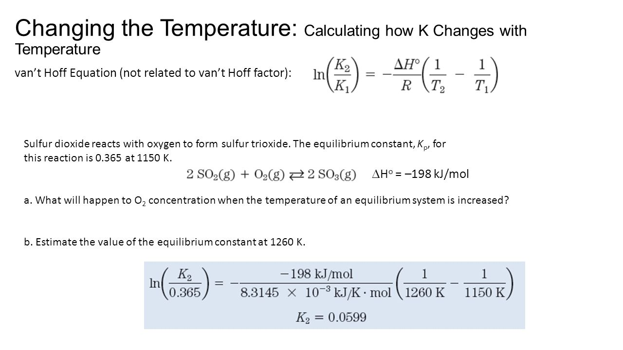 Changing the Temperature: Calculating how K Changes with Temperature