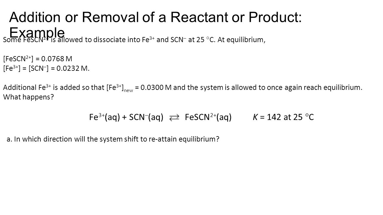 Addition or Removal of a Reactant or Product: Example