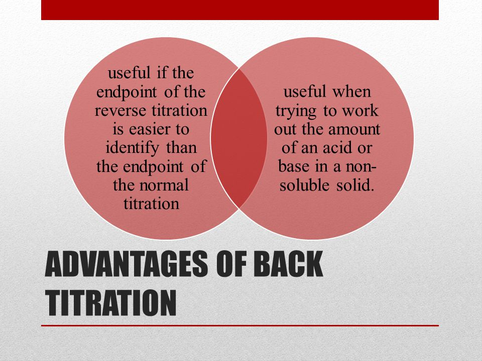 ADVANTAGES OF BACK TITRATION