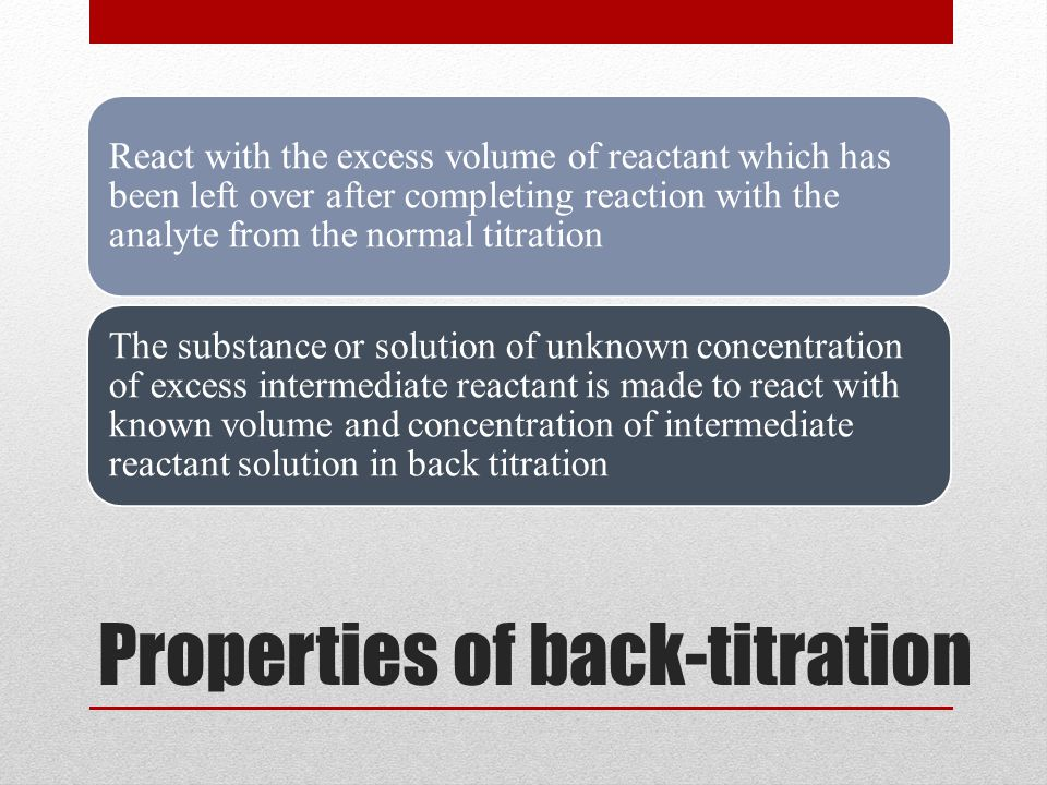Properties of back-titration