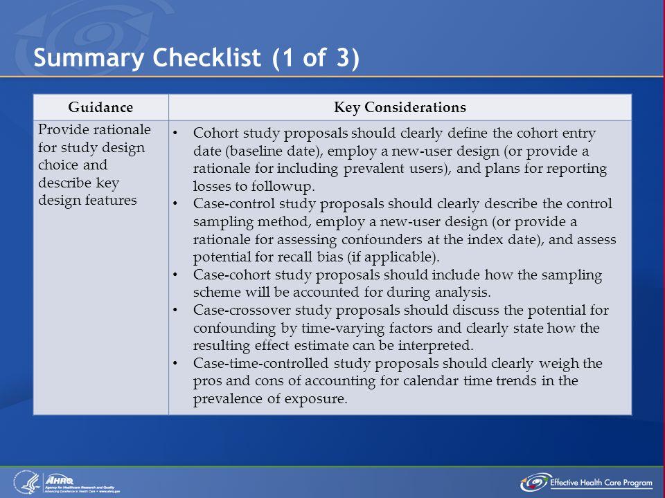 Summary Checklist (1 of 3)