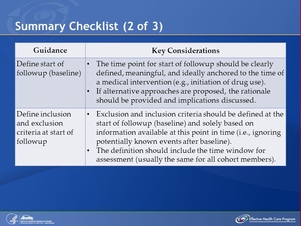 Summary Checklist (2 of 3)