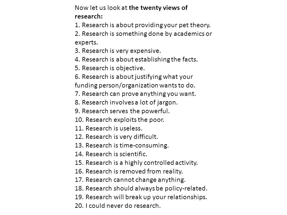 Now let us look at the twenty views of research: