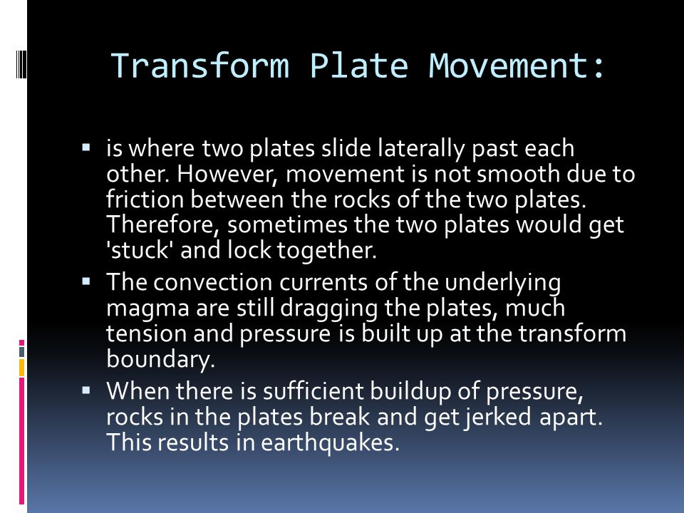 Transform Plate Movement:
