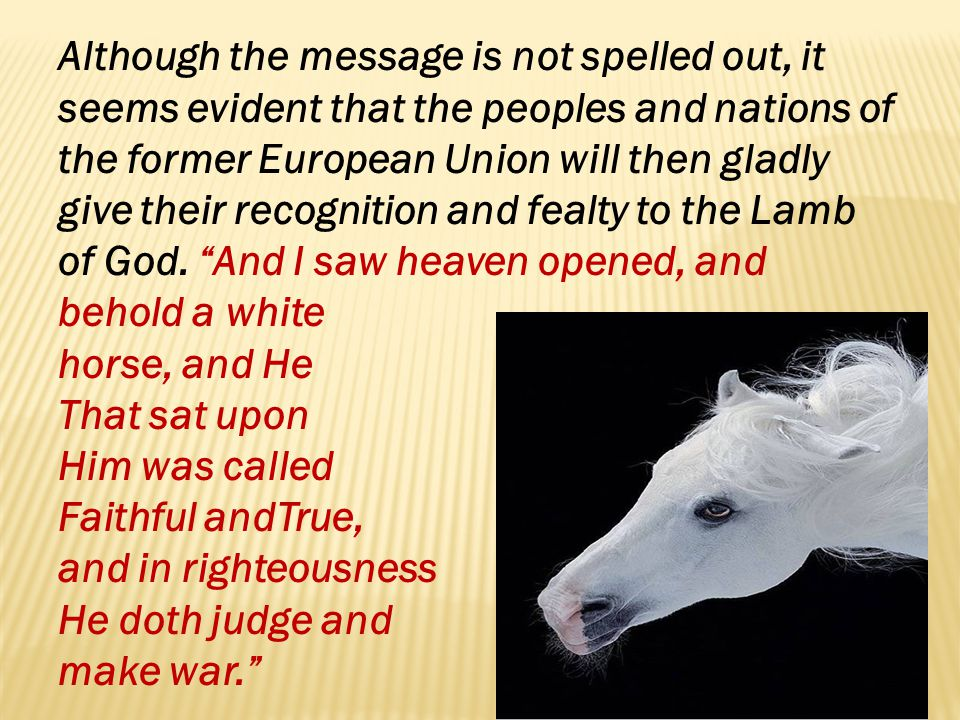 Although the message is not spelled out, it seems evident that the peoples and nations of the former European Union will then gladly give their recognition and fealty to the Lamb of God. And I saw heaven opened, and behold a white