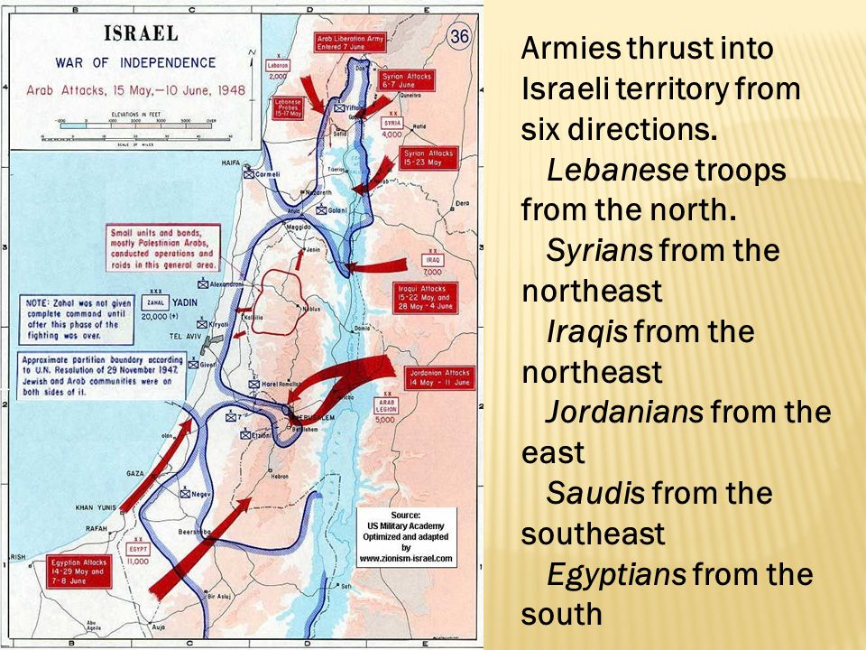 Armies thrust into Israeli territory from six directions.
