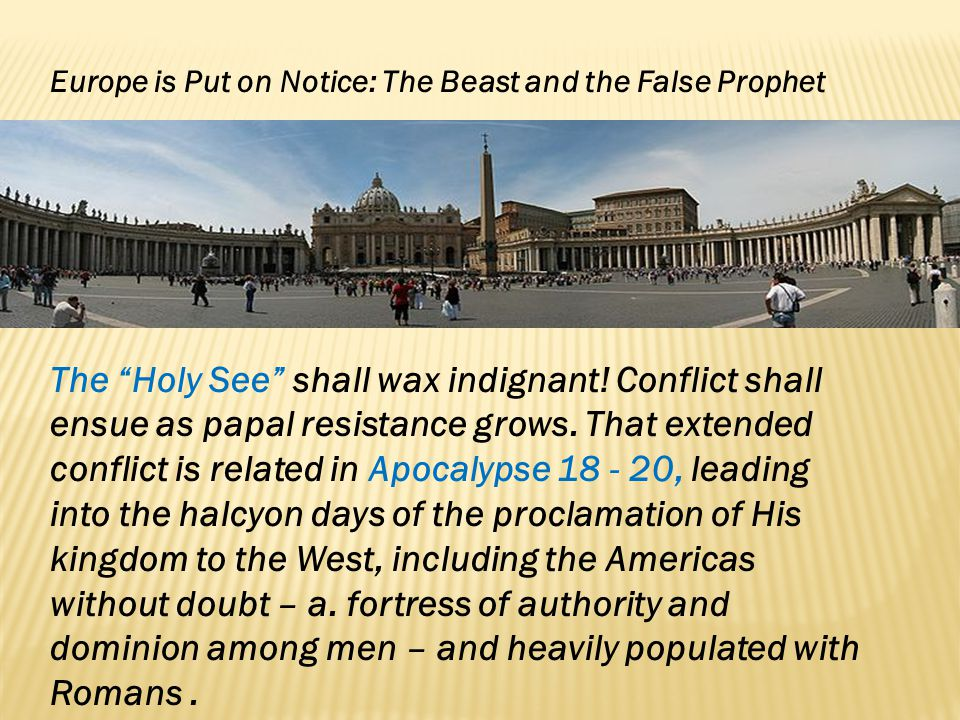 Europe is Put on Notice: The Beast and the False Prophet