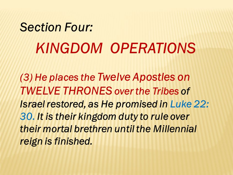 KINGDOM OPERATIONS Section Four: