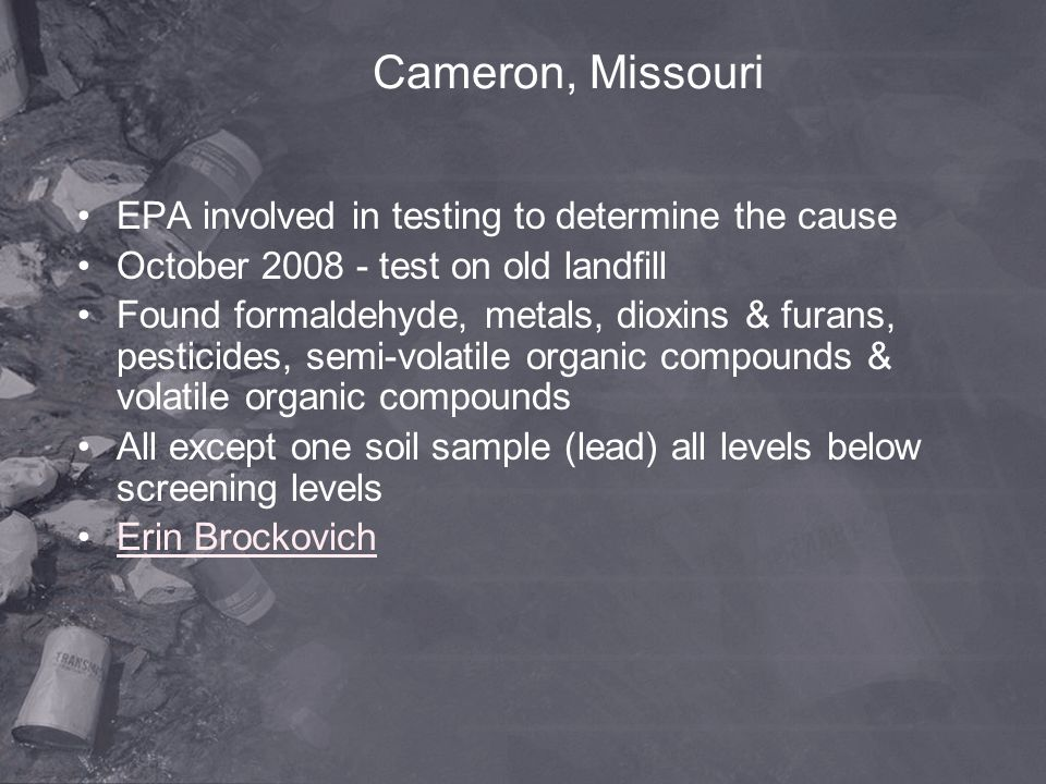 Cameron, Missouri EPA involved in testing to determine the cause