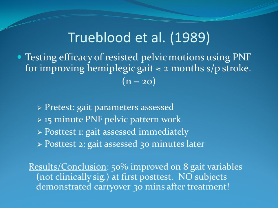 Trueblood et al. (1989) Testing efficacy of resisted pelvic motions using PNF for improving hemiplegic gait ≈ 2 months s/p stroke.