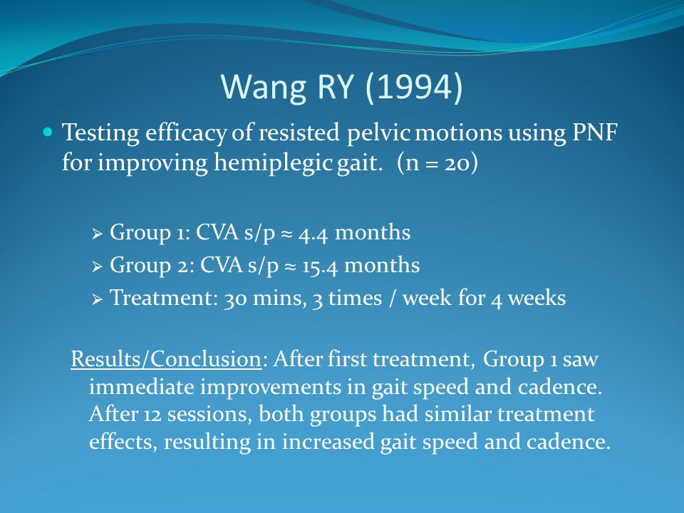 Wang RY (1994) Testing efficacy of resisted pelvic motions using PNF for improving hemiplegic gait. (n = 20)