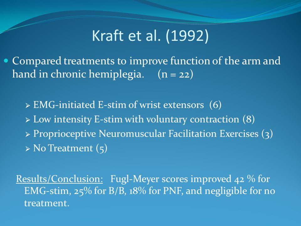 Kraft et al. (1992) Compared treatments to improve function of the arm and hand in chronic hemiplegia. (n = 22)