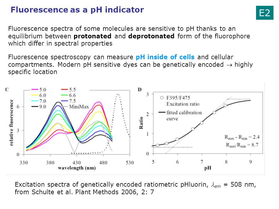 E2 Fluorescence as a pH indicator