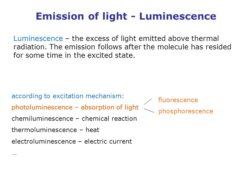 Emission of light - Luminescence