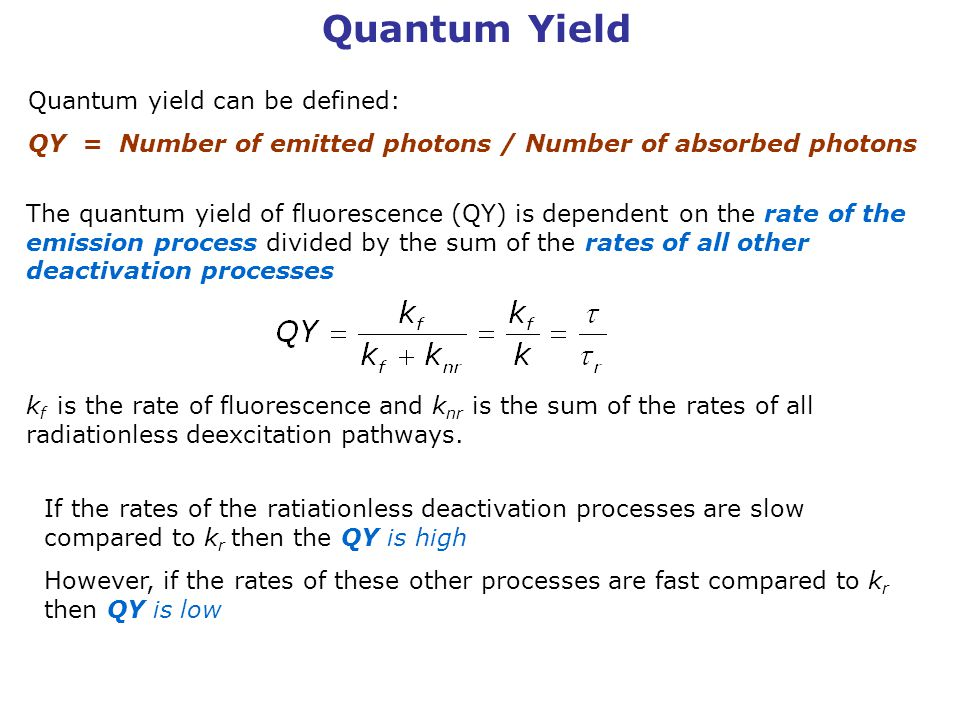 Quantum Yield Quantum yield can be defined: