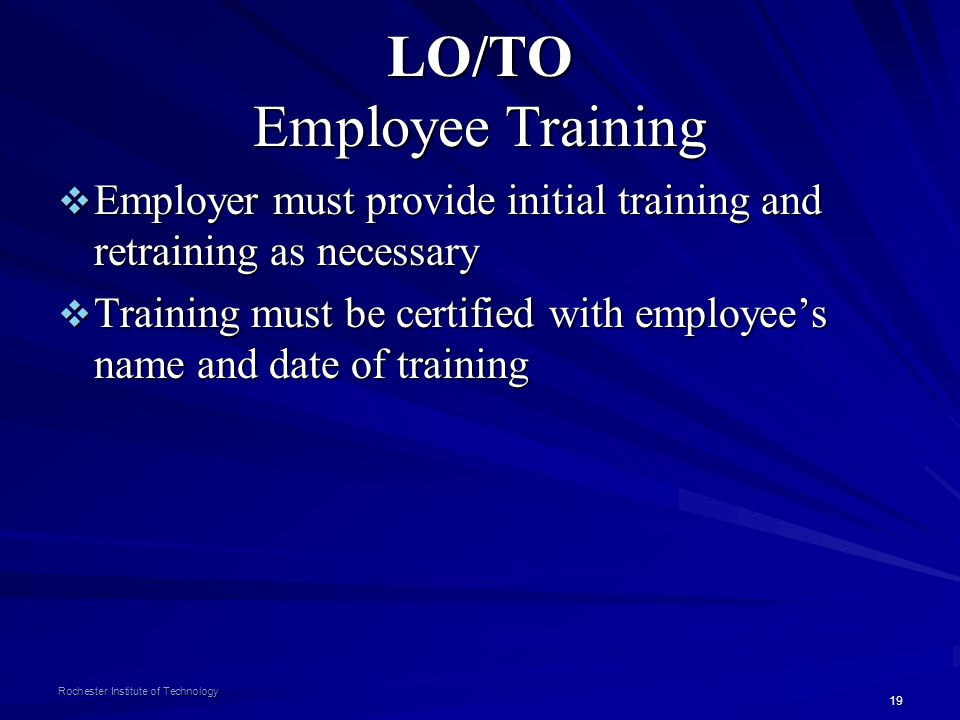 LO/TO Employee Training
