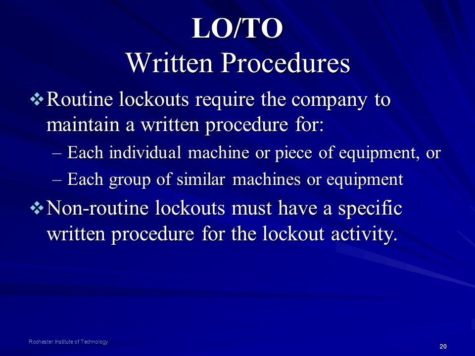 LO/TO Written Procedures