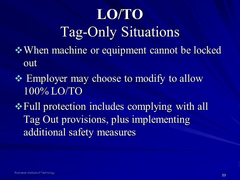 LO/TO Tag-Only Situations