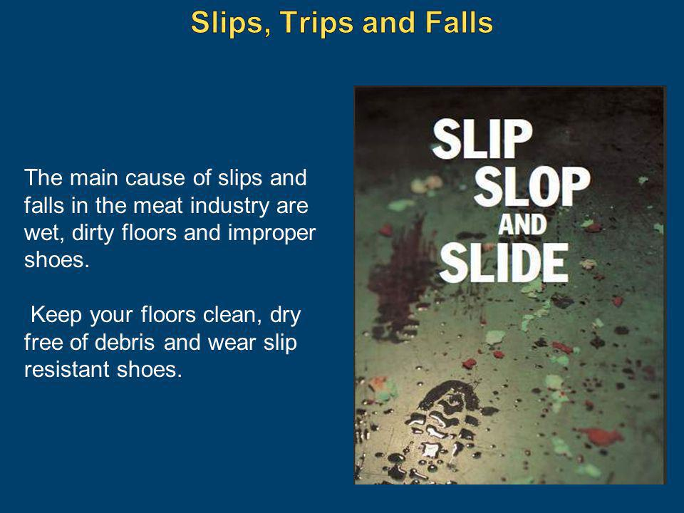 Slips, Trips and Falls The main cause of slips and falls in the meat industry are wet, dirty floors and improper shoes.