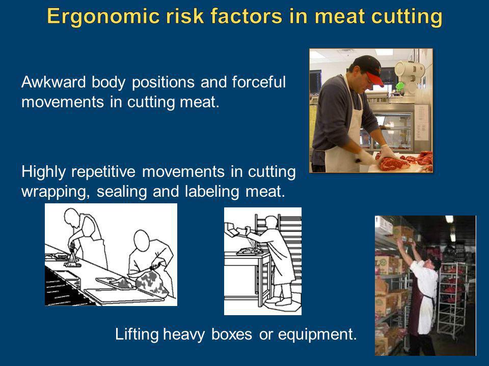 Ergonomic risk factors in meat cutting
