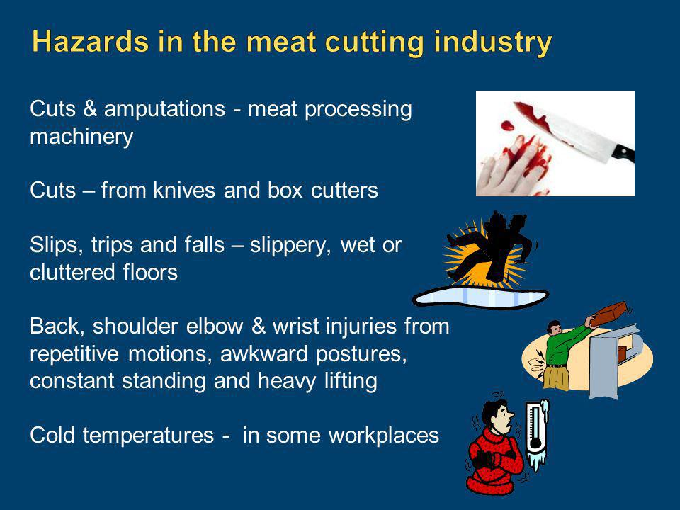 Hazards in the meat cutting industry