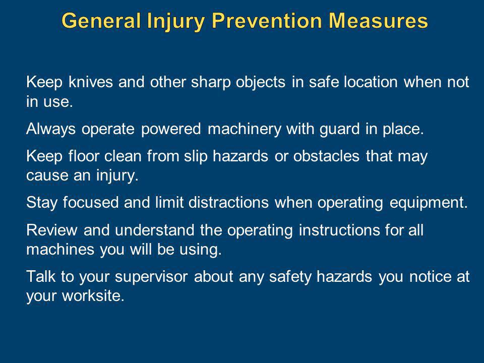 General Injury Prevention Measures