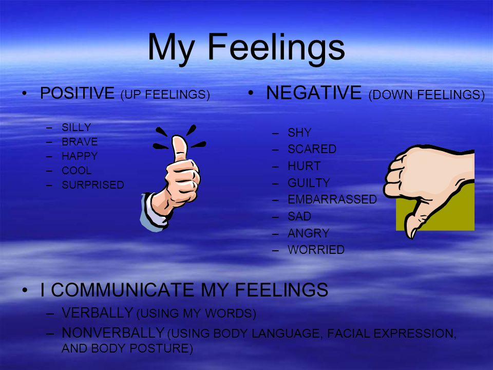 My Feelings NEGATIVE (DOWN FEELINGS) I COMMUNICATE MY FEELINGS